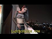 White Asian Ladyboy In Black Rubber