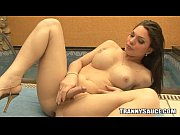 Foxy brunette tranny babe jerking it by t ...