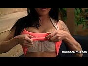 handjob expert sexy brunette strips and masturbates in.