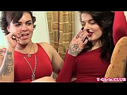 rimming inked tranny twosome jerking cocks