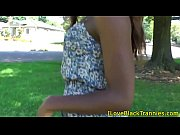 Ebony tranny stroking her hard dick