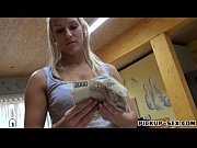 Eurobabe Blanche flases her tits for alot of cash and fucked