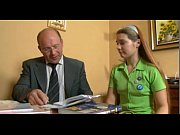 young teen cute russian girl and old man.