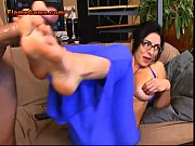 hot brunette milf footjob and deepthroat