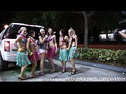 girls showing pussy and tits in hula skirts