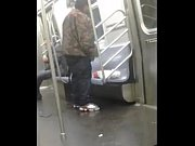 face 2 face wit a subway train pole... hilarious