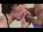 Classy british mature gets mouthful of cream