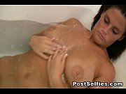 Hot Big Boobs Brunette Shows Naked In Bathtub