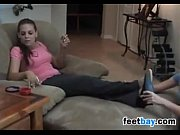 smoker gets her nylon covered feet.
