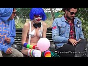 Stranded teen clown fucked in public pov
