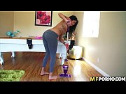latina cleans the house and gets her pussy.