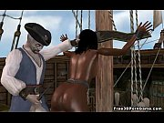 Hot 3D ebony babe gets fucked on a pirate ship