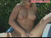 Hot blonde masturbation outdoor