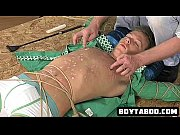 tied up hunk gets some hot wax and.