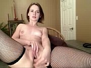 Shaved Pussy Squirter in black stockings
