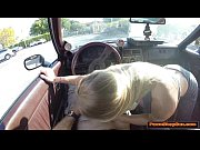 Blonde babe gives the Pawnshop owner a blowjob in her car