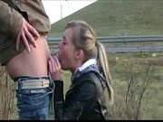 Picture Roadside public deepthroat blowjob cum