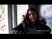 spanish redhead amateur in public flashing.