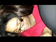 black amateur couple - she swallows.