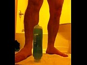 Straight man rides a shampoo bottle.MOV