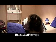 Irritated blonde cat fights hard a cheeky brunette