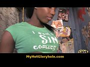 Ebony girl get initiated in the art of gloryhole blowjob 16