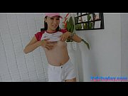 Hot ladyboy Coco masturbates her hard dick on the bed