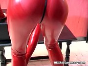 Nasty babe in red latex cloth gets her
