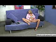 Blonde plays with herself over black cock