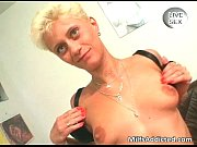 Short haired blonde mom gets her pussy