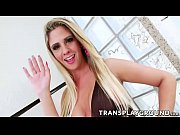 Blonde tranny Nicole Bahis in hot action with hairy guy Max