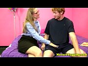 Blonde spex milf wanking his h
