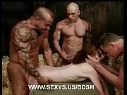 Soaked in cum in Bondage Gangbang