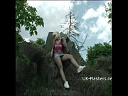 teen blonde flashers outdoor striptease of young amateur.