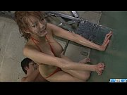 Filthy babe in tight red bikini sucking random poles and dildo fucked