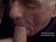 grandpa silverdaddy swallows cum from uncut cock and.