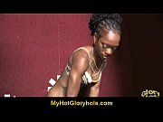 gloryhole - ebony chick sucks white.