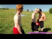 Cumswallowing ginger twink fucked in threeway