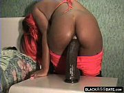 Ebony teen takes monster dildo