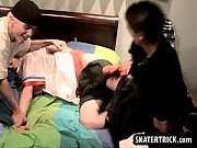 Skater hunk spanked hard on the bed by two studs