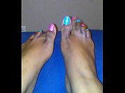 pretty pink and blue glitter toes