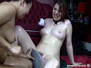 Interracial lesbian first-time amateurs frolicking with new sex toy