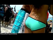 sexy petite booty white girl long hair brunette in turquoise bikini bottom holding and gripping her