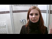 Redhead with innocent face doing perverted stuff in the public toilet