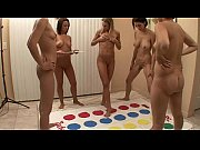 five college girls playing naked twister.