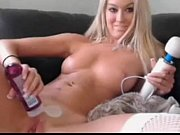 blonde camgirl with hitachi wand goes to town   - combocams.com