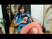 Euro babe Alice got super legs and hot red nylon pantyhose