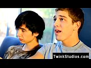 Hot twink scene Levon and Aidan love seeing gay porn flicks to