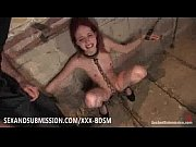 bondage brunette babe gives blowjob on.