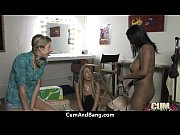 supr hot ebony chick blows a group of.